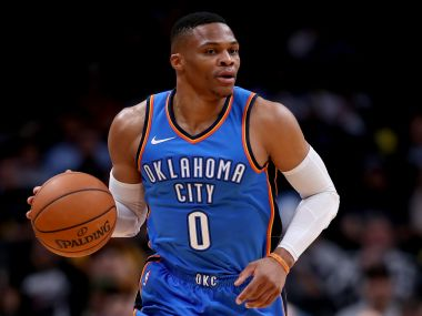 Russell Westbrook, along with Paul George and Carmelo Anthony, could take OKC to the Conference Finals. Getty