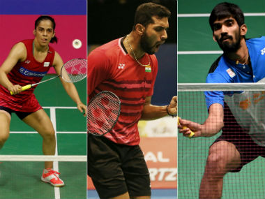 Saina Nehwal, HS Prannoy and Kidambi Srikanth in action. Agencies