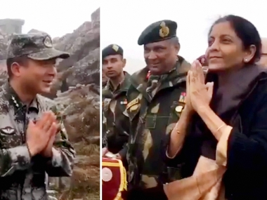 Defence Minister Nirmala Sitharaman greets Chinese soldiers. PTI