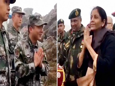 Nirmala Sitharaman interacts with Chinese soldiers at India-China border in Nathu La. PTI