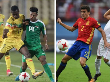 Mali's Mamadou Samaque and Mateu Jaume of Spain in action. FIFA