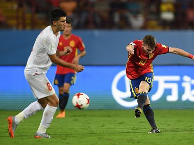 Spain and Iran players in action during their FIFA U-17 World Cup quarter-final match. Image Courtesy: Twitter @FIFAcom