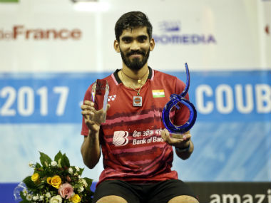 Kidambi Srikanth poses after winning the French Open Superseries title. AP