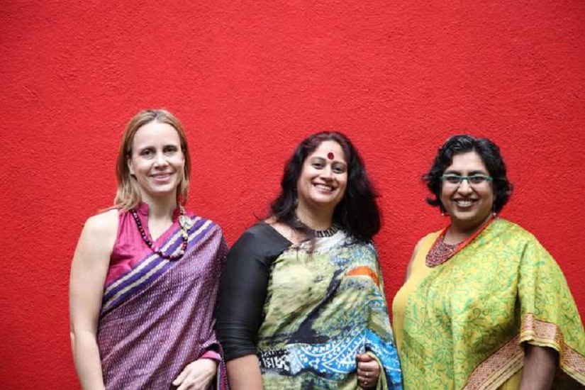 From L-R, Ellen Kombiyil, Shikha Malaviya and Minal Hajratwala, founders of the (Great) Indian Poetry Collective
