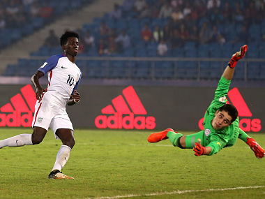 Tim Weah scores USA's fifth goal against Paraguay. Getty