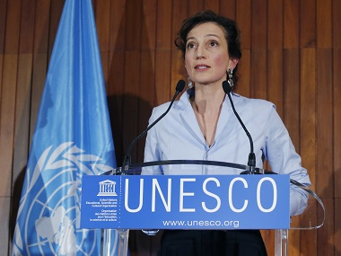 UNESCO'S new elected director-general France's Audrey Azoulay speaks to the media at the UNESCO headquarters. AP