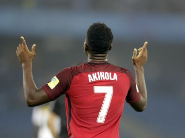 USA player Ayo Akinola gestures as he celebrates a goal against Ghana during the FIFA U-17 World Cup. AP