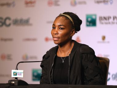Venus Williams attends All Access Hour prior to the WTA Finals. Getty