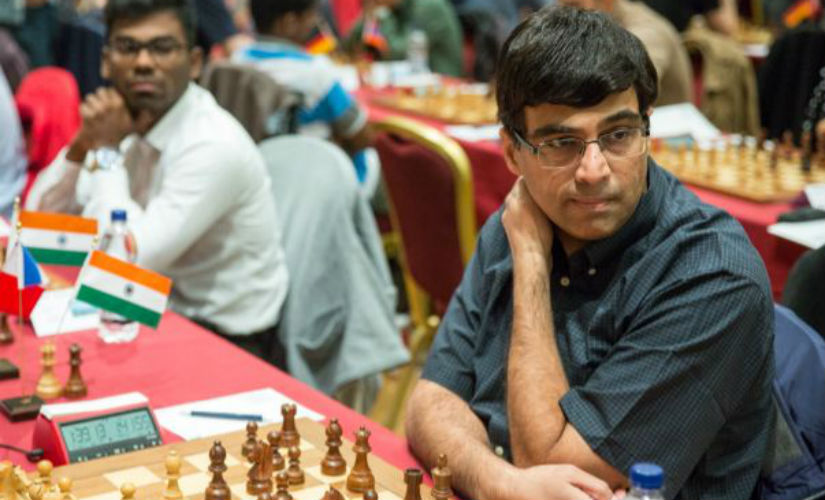Viswanathan Anand in action in Round 8 of the Isle of Man Open. Chess.com/Maria Emelianova