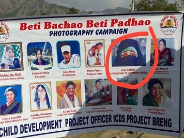 Separatist leader Asiya Andrabi (top row second from right) features in a 'Beti Bachao, Beti Padhao' campaign poster in J&K. Image credit. Twitter: @rssurjewala