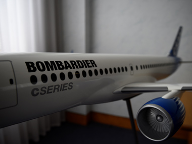 A model of Bombardier C Series aeroplane is seen in the Bombardier offices in Belfast, Northern Ireland September 26, 2017. Reuters.