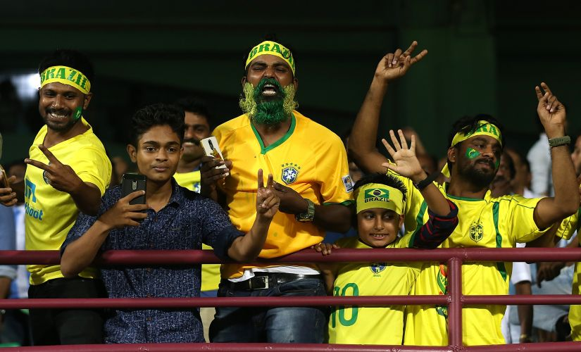 Fans in Kochi cheer for Brazil. Getty Images