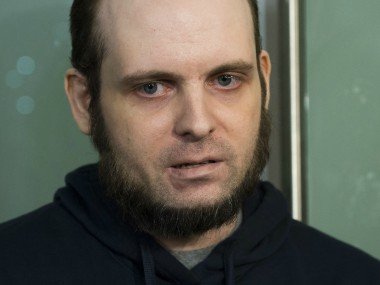 Joshua Boyle speaks to the media after arriving at the Pearson International Airport in Toronto on Friday. AP