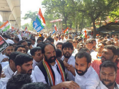 Congress workers in Hyderabad on Thursday. Twitter/@Sahil_RG