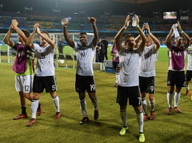 Germany players acknowledge the crowd after their win over Guinea in Kochi. FIFA via Getty Images