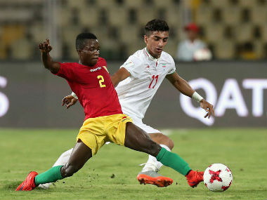 Action in Guinea versus Iran match in the FIFA U-17 World Cup in Goa. Twitter/ @FIFAcom