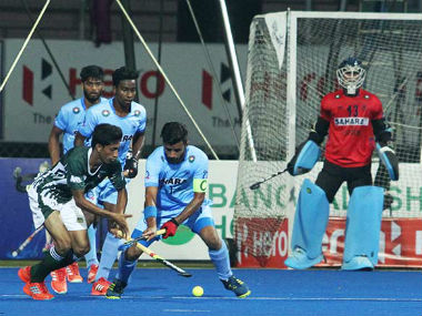 India and Pakistan players in action during their Hockey Asia Cup match. Twitter/ @TheHockeyIndia