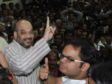 File image of BJP chief Amit Shah with son Jay Amit Shah. AFP