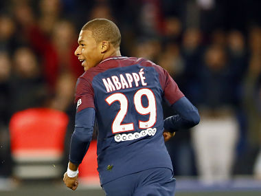 Paris Saint Germain's Kylian Mbappe reacts after scoring the second goal against Lyon during their French League One soccer match between PSG and Olympique Lyon at the Parc des Princes stadium in Paris, France, Sunday, Sept. 17, 2016. (AP Photo/Francois Mori)