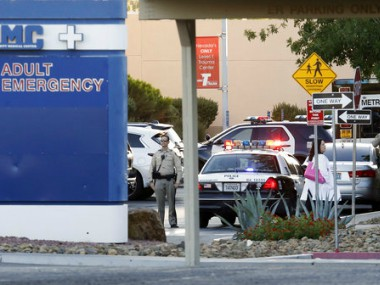 Las Vegas Police at the scene of crime on Monday. AP