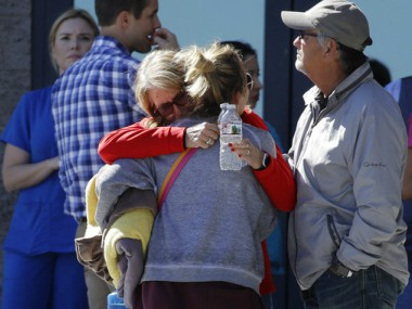 Survivors of the attack outside a trauma centre in Las Vegas on Monday. AP