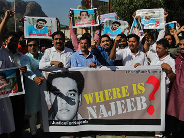 File image of a protest demanding probe over Najeeb's disappearance. Getty images