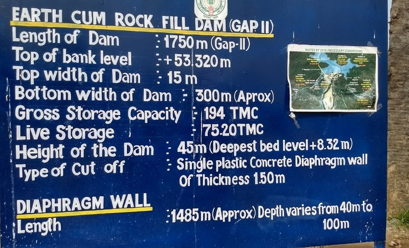 Details of the coffer dam listed in a signboard at the construction site of the dam. Rahul Maganti/Firstpost