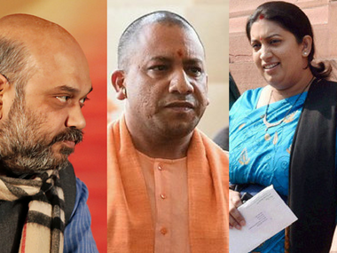 BJP chief Amit Shah, Uttar Pradesh chief minister Yogi Adityanath and Union minister Smriti Irani. Agencies