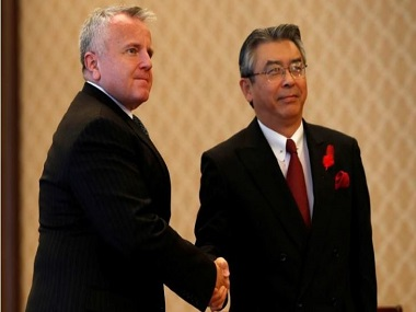 US deputy secretary of state John Sullivan (L) meets with Japan's vice foreign minister Shinsuke Sugiyama in Tokyo. Reuters