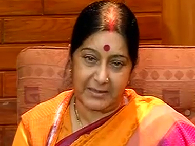 File photo of Sushma Swaraj. Image courtesy: IBN