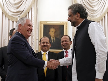 US secretary of state Rex Tillerson shakes hands with Pakistani prime minister Shahid Khan Abbasi. AP