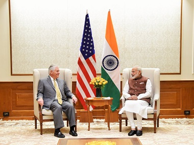 Prime Minister Narendra Modi with US Secretary of State Rex Tillerson. Twitter @PMOIndia
