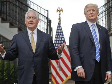File image of Secretary of State Rex Tillerson and US president Donald Trump