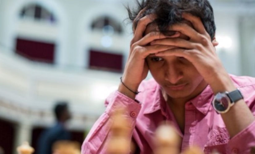 Vidit Gujrathi deep in thought during a match at the Isle of Man Open. Chess.com/Maria Emelianova