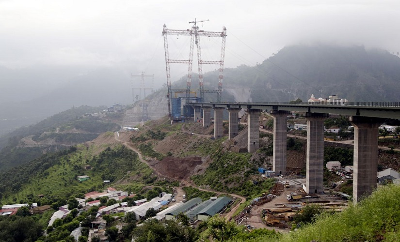 View of the Chenab bridge project from U/S end. Image courtesy Srinand Jha