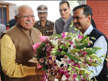 Delhi CM Arvind Kejriwal held a nearly 90-minute meeting at his Haryana counterpart, Manohar Lal Khattar's residence in Chandigarh. Twitter? @mlkhattar
