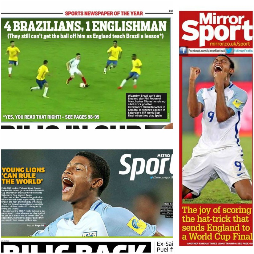 The British press warmed up to the U-17 team after their win over Brazil in the semi-final. The Daily Mail (top), Daily Mirror (right) and Metro.