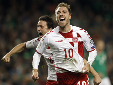 Denmark's Christian Eriksen celebrates after scoring his side's third goal during the World Cup qualifying play off second leg match against Ireland. AP