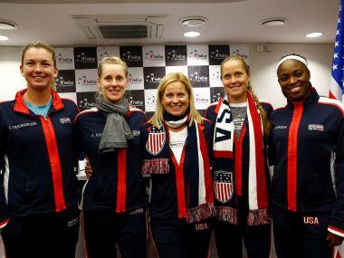 USA players and team captain Kathy Rinaldi attend a news conference before the final against Belarus. Reuters