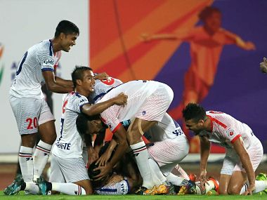 Delhi Dynamos players celebrate a goal as they clinched 3 points in their opening game of this season against FC Pune City. Image courtesy: Twitter/@IndSuperLeague