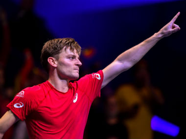 Belgium's David Goffin reacts after winning a match against France's Lucas Pouille during the Davis Cup World Group singles rubber final. AFP