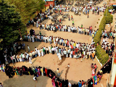 File image of serpentine queues for banks after the announcement of the note ban. PTI