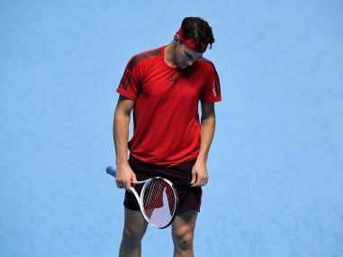 Dominic Thiem reacts during his group stage match against David Goffin. Reuters