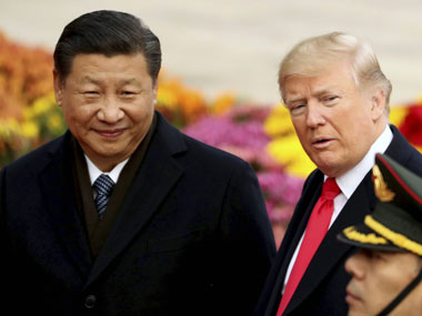 President Donald Trump and Chinese President Xi Jinping participate in a welcome ceremony at the Great Hall of the People, on 9 November, 2017 in Beijing. AP/ PTI