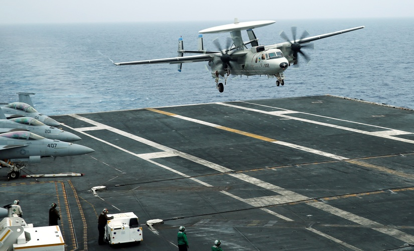 An E-2D Hawkeye plane approaches to the US aircraft carrier John C Stennis during joint military exercise called Malabar, with the United States, Japan and India participating, off Japan's southernmost island of Okinawa, Japan in June 2016. Reuters