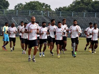 East Bengal players during a training session. Image courtesy: Twitter @eastbengalfc