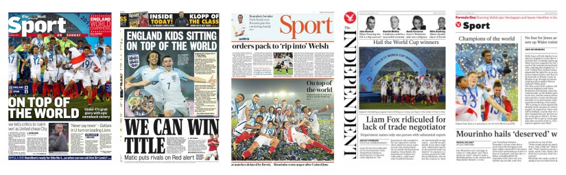 The Daily Mail, The Daily Express, The Daily Telegraph and the Independent prominently featured the U-17 team's victory on their sports pages.