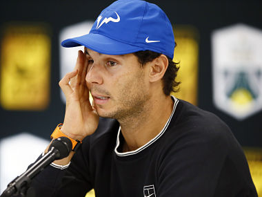 Rafael Nadal addresses a press conference during the Paris Masters. AP