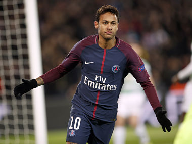 PSG's Neymar celebrates after scoring his side's first goal during a Champions League Group B soccer match between Paris St. Germain and Celtic at the Parc des Princes stadium in Paris, France, Wednesday, Nov. 22, 2017. (AP Photo/Christophe Ena)