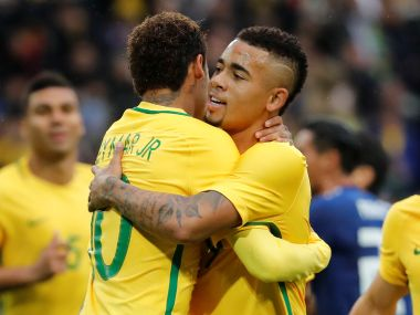 File image of Brazil's Gabriel Jesus with Neymar. Reuters